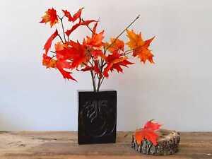 Mid Century Modern High Gloss Black Ceramic Flower Vase