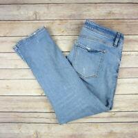ANN TAYLOR LOFT Women's Curvy Skinny Crop Jeans SIZE 27/4 Distressed Lightwash