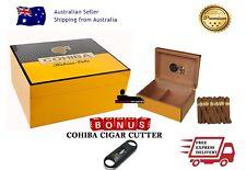 50+ COUNT COHIBA CIGAR HUMIDOR CLASSIC YELLOW WITH BONUS CUTTER