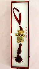 Crazy Horse-Liz Claiborne Babys First Christmas Teddy Bear Goldtone Ornament NWT