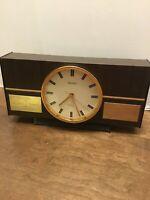 Seiko Transistor 5 Jewels Desk Clock Presentation Piece Mantle Wooden Vintage