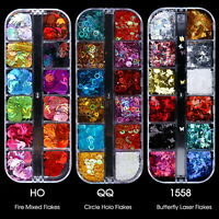 12 Grid 3D Holographic Laser Glitter Flakes Butterfly Sequins Nail Art Decor.