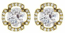 1.10 ct total Brilliant Round cut Diamond Stud Earrings 14K Yellow Gold, G SI1
