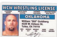Wrestler Bill Goldberg novelty fake Id i.d. card Drivers License