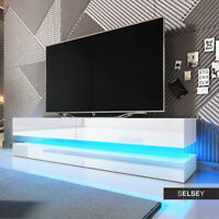Aviator Meuble TV Suspendu 140 cm LED bleue design banc télévision salon moderne