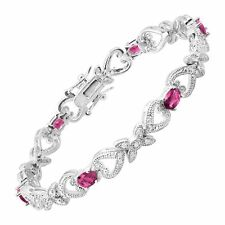 """Pink Glass Heart Tennis Bracelet with CZ in Rhodium-Plated Bronze, 7.25"""""""