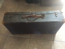 WWI Soft Shell Storage Trunk, Fort Wayne Army Suitcase, Wood Frame