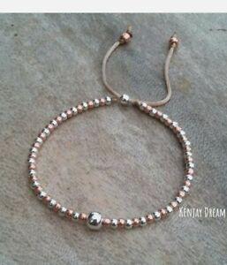 925 Sterling Silver Rose Gold Ball Beaded Bracelet Adjustable Friendship Slider