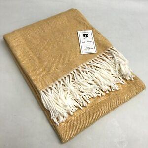 New Texteis Penedo Throw Yellow Cotton Mix Tasselled Knitted Blanket 473208