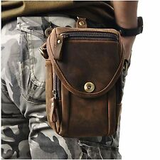 Leaokuu Mens Vintage Fanny Small Messenger Shoulder Satchel Genuine Leather Bag