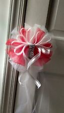Sale 8pc Wedding White And Red Tulle Pew Bows Rush order available email me