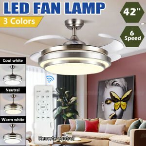 US 42'' Ceiling Fan with 3 Colors LED Light Retractable Blade and Remote Control