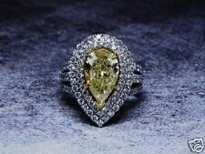 Certified 5.35ct Yellow Pear Cut Diamond Double Engagement Wedding 14K Gold Ring