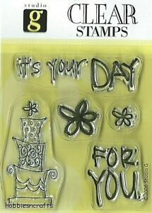 IT'S YOUR DAY Hampton Art Studio G Clear Cling Stamps - Birthday Sentiments