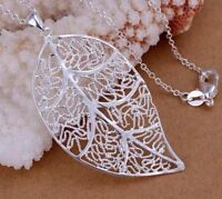 925 Sterling Silver Large Filigree Leaf Pendant Charm Necklace Link Chain Gift