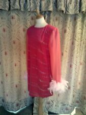 Drag Queen Pink SHORT dress with pink feather trim sleeves16/18
