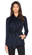 NEW $400+ Vince Leather Trim Drape Neck Jacket Coat Sexy Coastal Blue Size 0