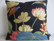GP&J Baker Nympheus Birds Linen & Black Velvet Fabric Traditional Cushion Cover