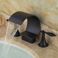 Oil Rubbed Bronze Brass Bathroom Faucet Waterfall Spout Vanity Sink Mixer Tap US