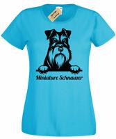 Donna Miniature Schnauzer T-Shirt Cane Amante Regalo Top Donna