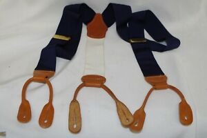 BROOKS BROTHERS 1818 LOGO NAVY BLUE BRACES SUSPENDERS BROWN LEATHER