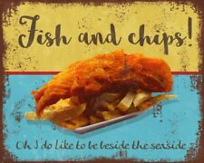 Fish and Chips Seaside Vintage Retro style Metal Sign Advert wall Plaque