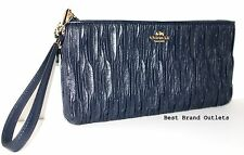 $248 COACH - Madison Gathered Leather Zip Clutch Wristlet 66082E Navy - NEW!