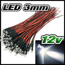 256# LED 3mm 12v pré-câblé blanche de 5 à 100pcs - pre wired LED white 3 mm