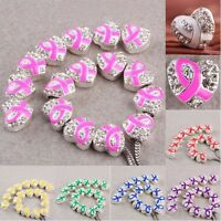 Wholesale Crystal Ribbons Awarness Heart Loose Beads Fit Charms Bracelet Jewelry