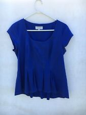 🍃 Womens Veronika Maine Lyocell Cotton Sleeveless Top Blouse Tee Blue Size 12