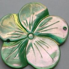1 Large Shell Flower Bead, Green Lustre, 45 mm, 2 Holes. Crafts/Jewellery/Sew