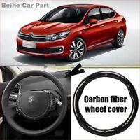 For Citroen C4L Carbon Fiber Leather Steering Wheel Cover Sport Racing case