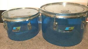 "2 1970's LUDWIG 12""  & 10""  BLUE VISTALITE CONCERT TOMS 2 FOR 1! POWER TOMS"