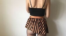 Striped Frill Asymmetric Extreme Mini Skirt