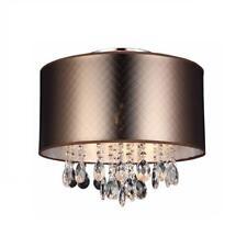 3-flammige Luminarias Luz Lámpara de Techo Cristal Pantalla Tela Marrón O40cm