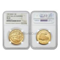 USA 1992 Great seal of California 1 oz Gold NGC MS69