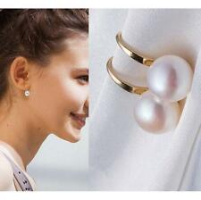 Elegant Women Gold Plated White Pearl Ball Drop Dangle Earrings Bridal Jewelry