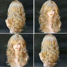 US Womens Gold Blonde Long Curly Wavy Wigs Full Hair Ombre Fashion Cosplay Party