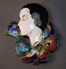 Vivid Vintage Cloisonne Lady Profile Brooch w/Butterfly & Flowers! Beautiful!