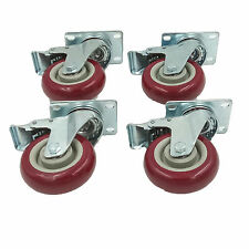"Set of 4 Plate Caster with 4"" Polyurethane Wheels All Swivel All Brake Casters"