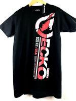 Ecko Unltd Mens M Black Graphic T-Shirt Metallic Red Logo Print Tee Size Medium