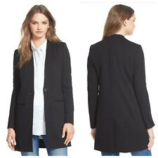 Madewell Black Fitted One Button Closure Two Pockets Long Blazer Coat Womens 8