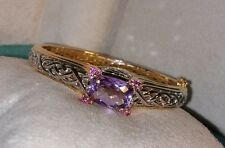 Victoria Wieck yellow gold/Sterling silver Amethyst checkerboard Bracelet Bangle