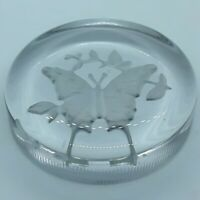 "Vintage Clear Glass Flat Paperweight - Engraved Butterfly 3.25""w x 0.75""h"