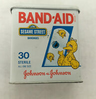 vintage empty band aid sesame street big bird metal tin Johnson Johnson