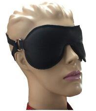 Bondage Leder Augenbinde Augenmaske gepolstert schwarz mit Doppel Halterung