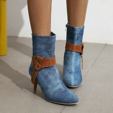 New Denim Womens Fashion Pointed Toes High Heels Ankle Boots Shoes Outwears