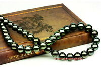 """top luster 18""""6-7mm natural real round TAHITIAN black green pearl necklace 14K"""