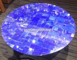 Marble Mosaic Lapis Stone Console Table Top Rare Inlay Hallway Unique Decor M368