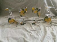 Pier 1 Lemon Hand Painted Glasses White Flowers Green Leaves Set of 4